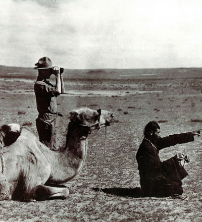 Andrews with Merin, the head of the expedition's camel caravan